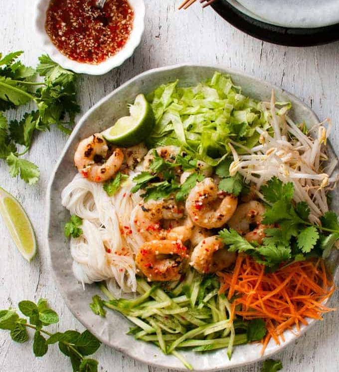 Vietnamese Shrimp Noodle Salad (rice noodles, lettuce, bean sprouts, carrot, cucumber, shrimp, dressing)