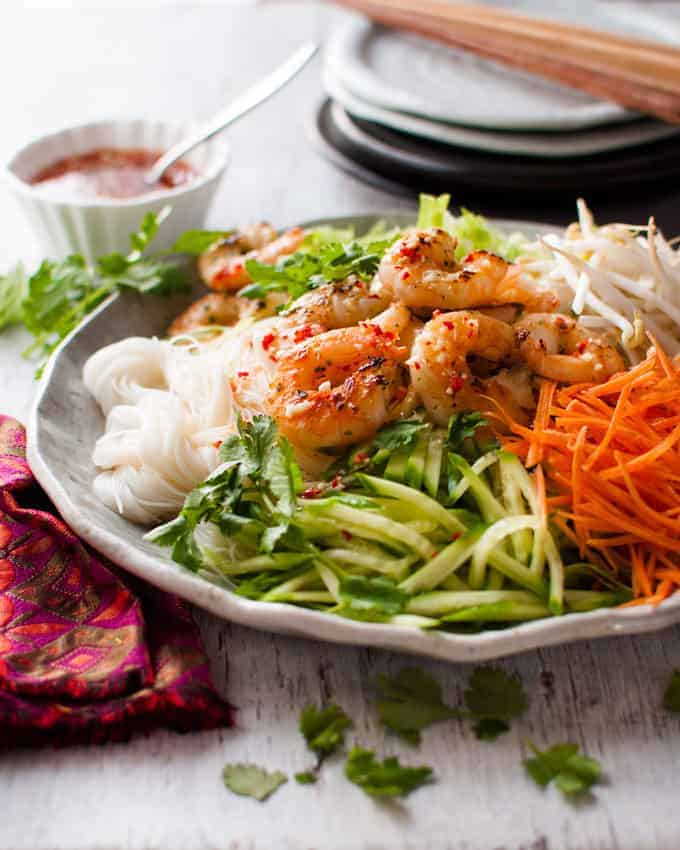Closeup of Vietnamese Shrimp Noodle Salad