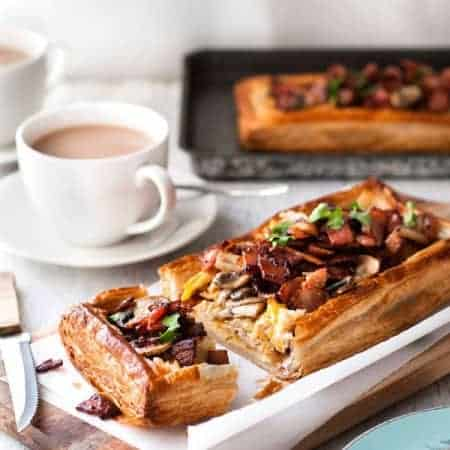Bacon Mushroom & Egg Puff Pastry Tart with Gruyere Cheese