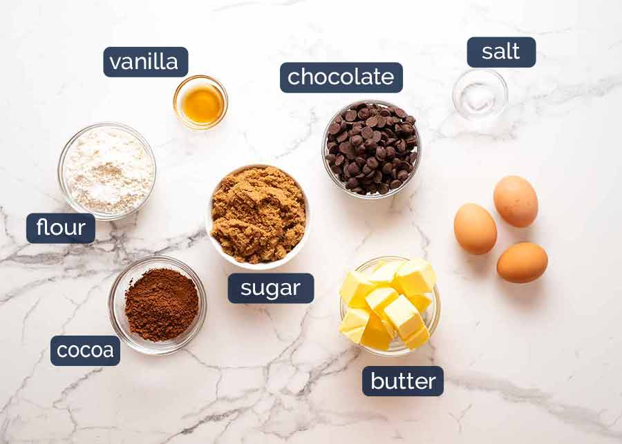 Brownie ingredients for Caramel brownies