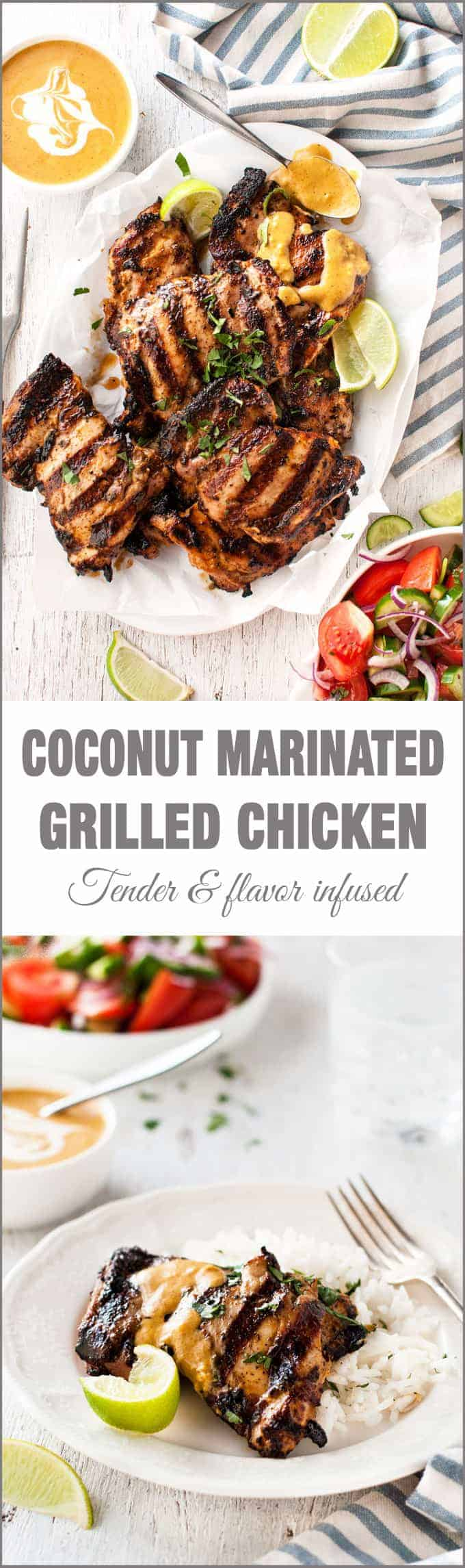 Coconut Marinated Grilled Chicken - the coconut marinade infuses the chicken with rich flavour and tenderises the meat. And the sauce is incredible!