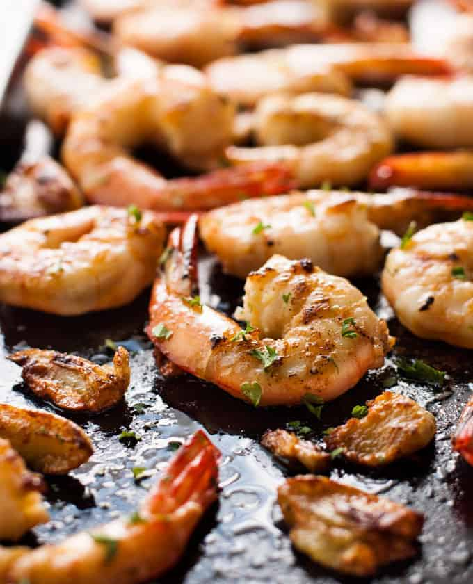 Closeup of Garlic Brown Butter Shrimp (Prawns) in pan