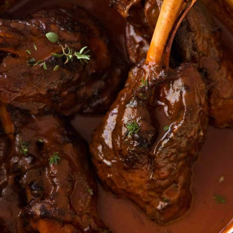 Slow Cooked Lamb Shanks in Red Wine Sauce in a cast iron pot, fresh off the stove ready to be served