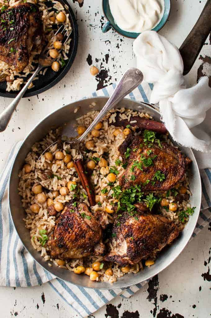 Baked Chicken Shawarma and Rice baked in one pan in a skillet, ready to be served.