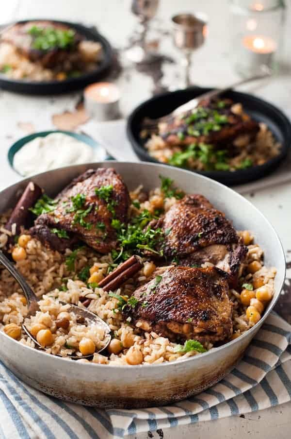 One Skillet Baked Chicken Shawarma And Rice Pilaf