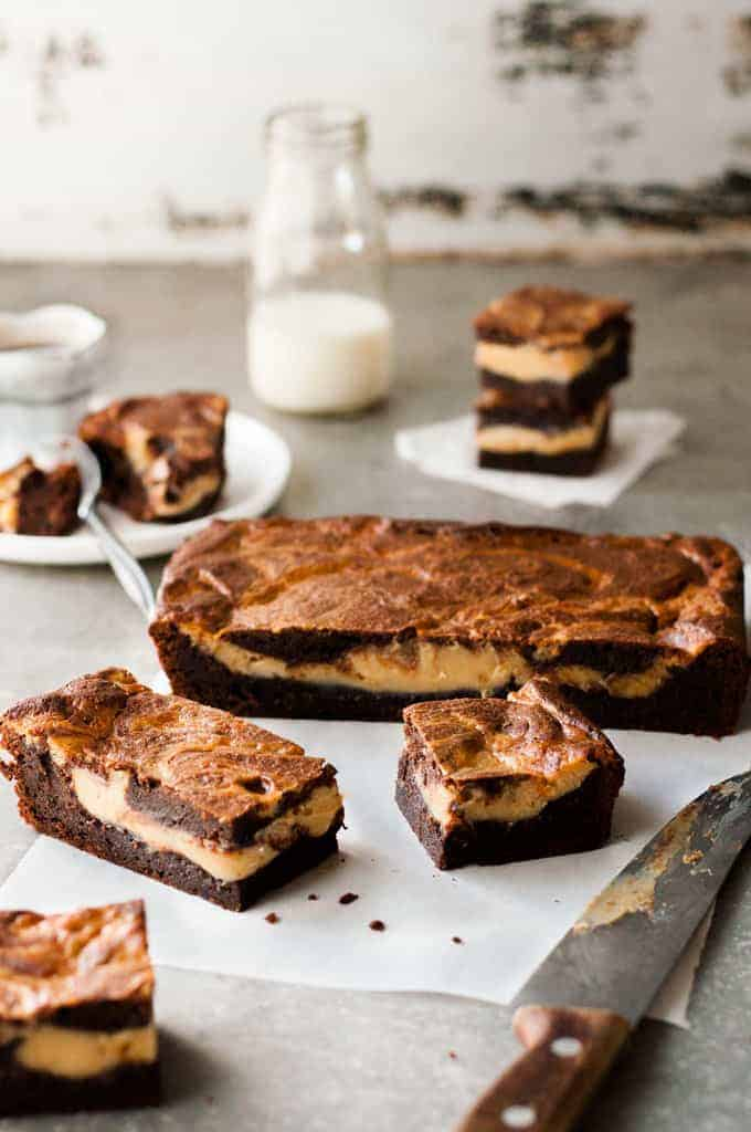 Slices of Salted Caramel Brownies
