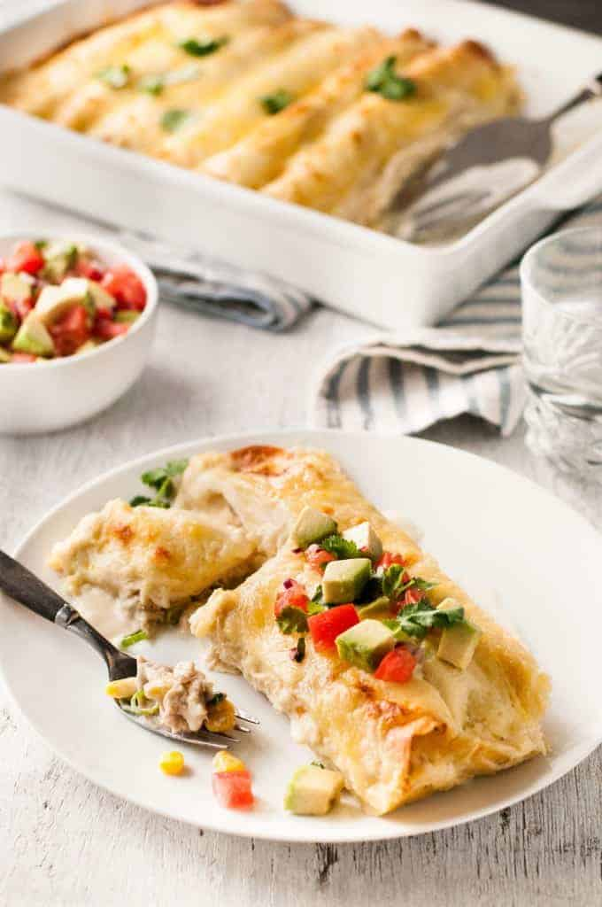 White Chicken Enchiladas - Enchiladas, made with a gorgeous creamy white sauce! www.recipetineats.com