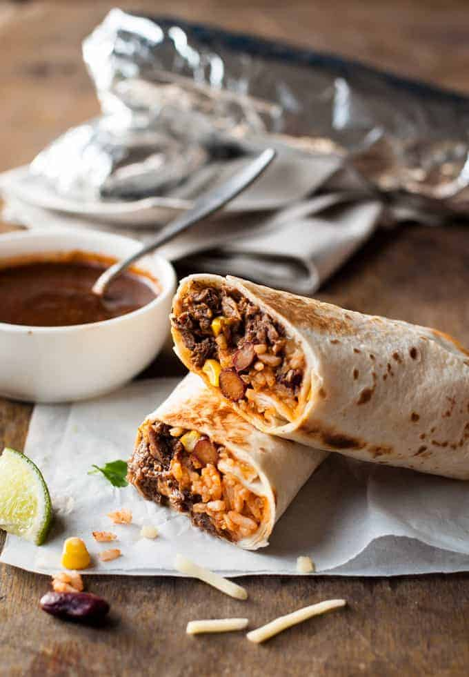 Shredded Mexican Beef Burritos - juicy, moist shredded beef with Mexican Red Rice and cheese wrapped in a tortilla!