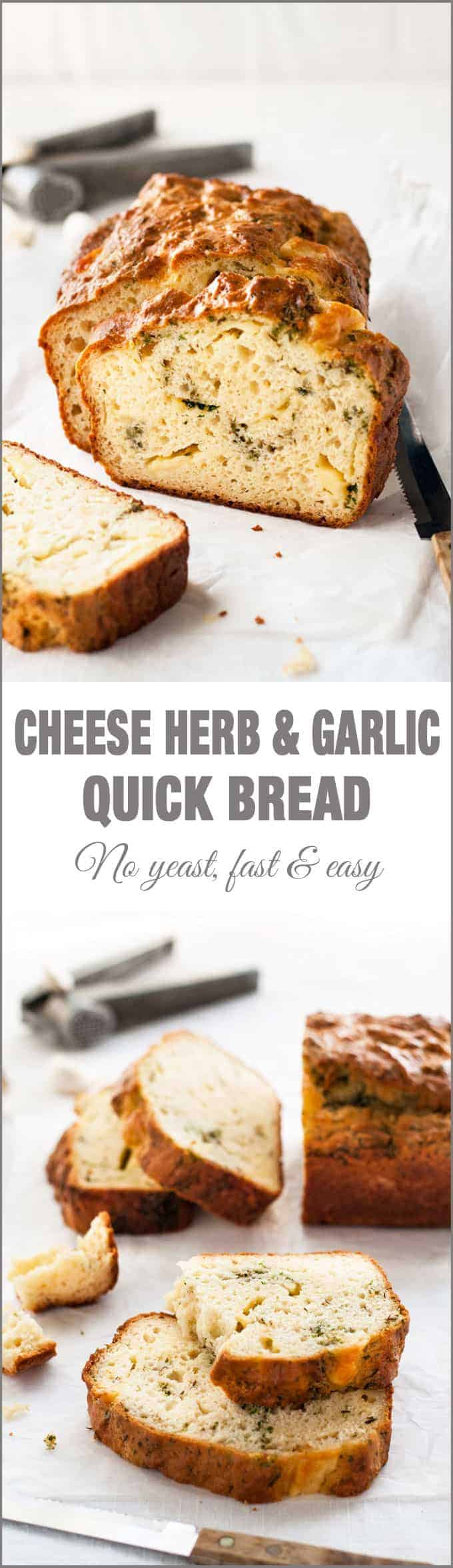 Cheese Herb and Garlic Quick Bread - true to its name, this is QUICK to prepare! Love the pockets of cheese and herb in this.