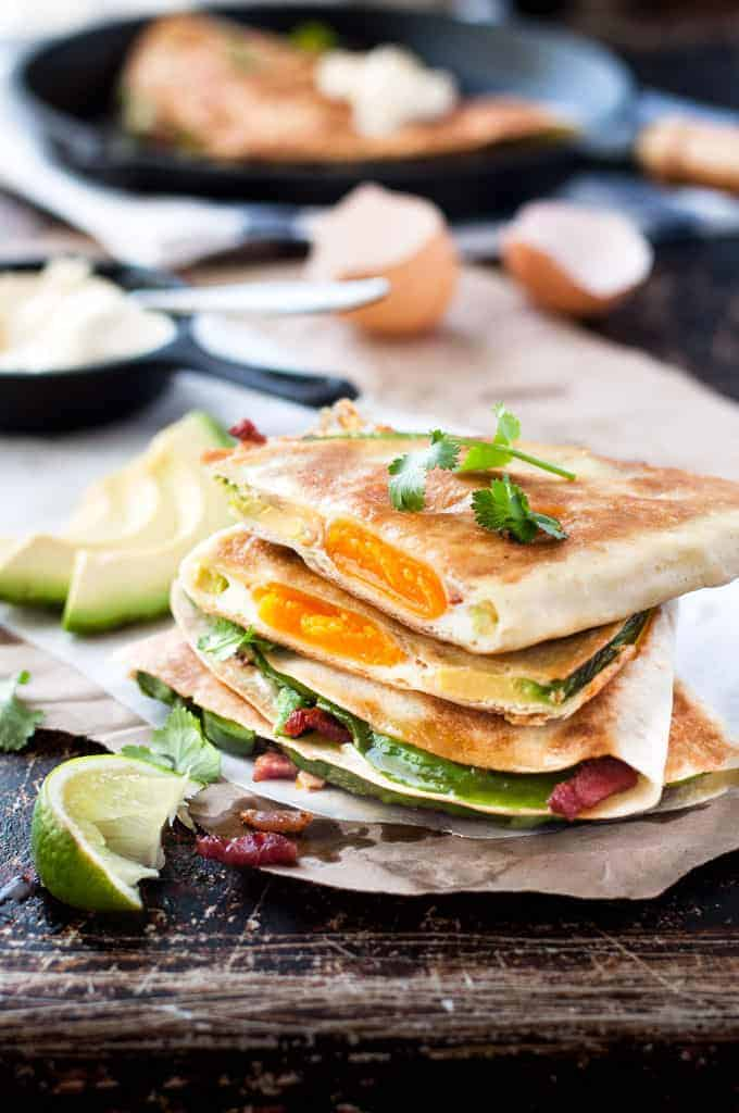 Stack of Egg, Bacon and Avocado Breakfast Quesadillas