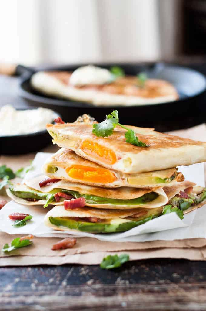 Stack of Egg, Bacon and Avocado Quesadilla