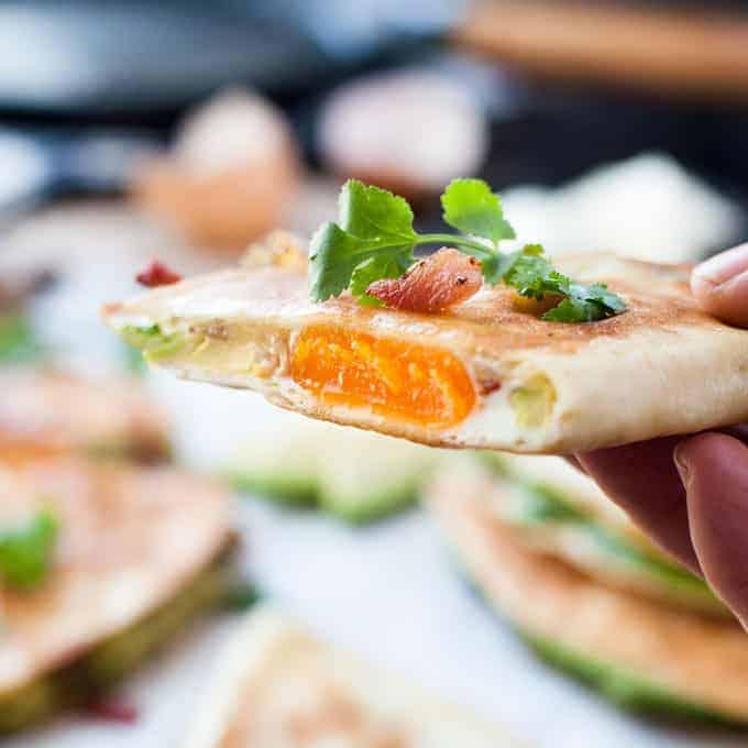 closeup of Egg, Bacon and Avocado Breakfast Quesadillas