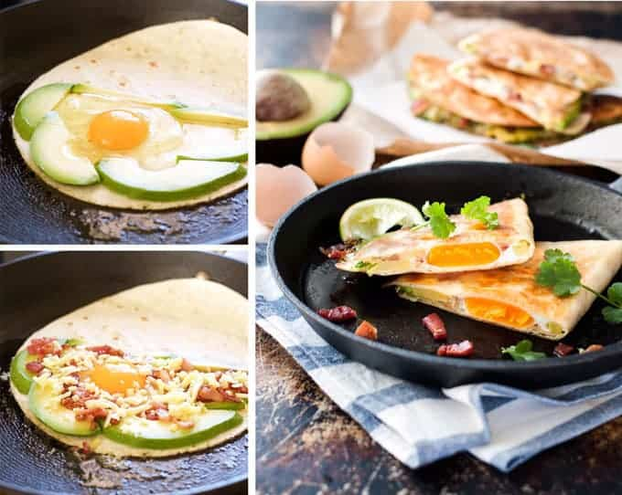 How to make Egg, Bacon and Avocado Breakfast Quesadillas