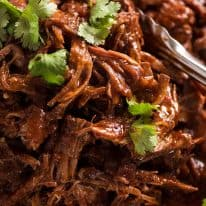 Close up of Slow Cooker Mexican Shredded Beef