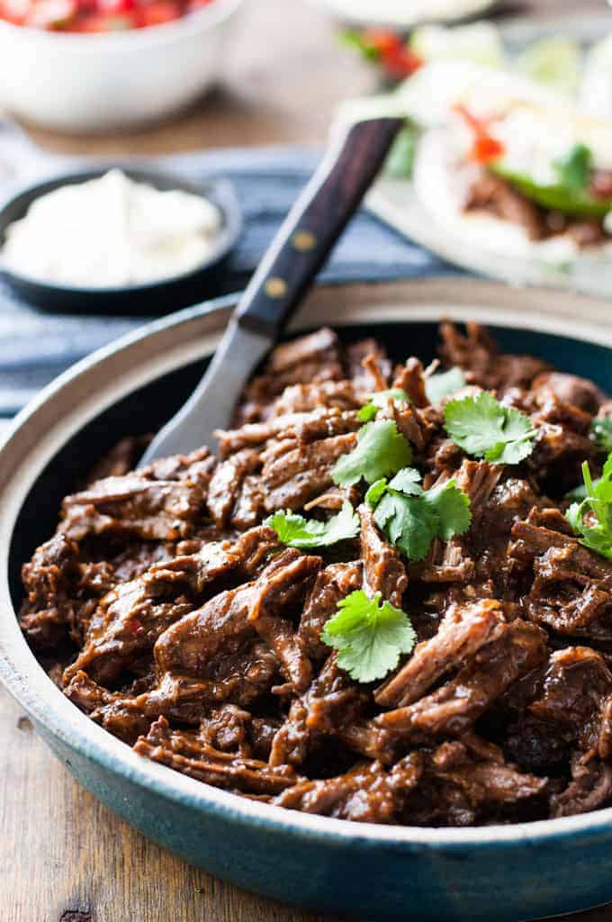 Shredded Beef in bowl for Shredded Beef Burritos