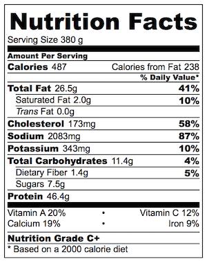 Oven Baked Tandoori Chicken Nutrition