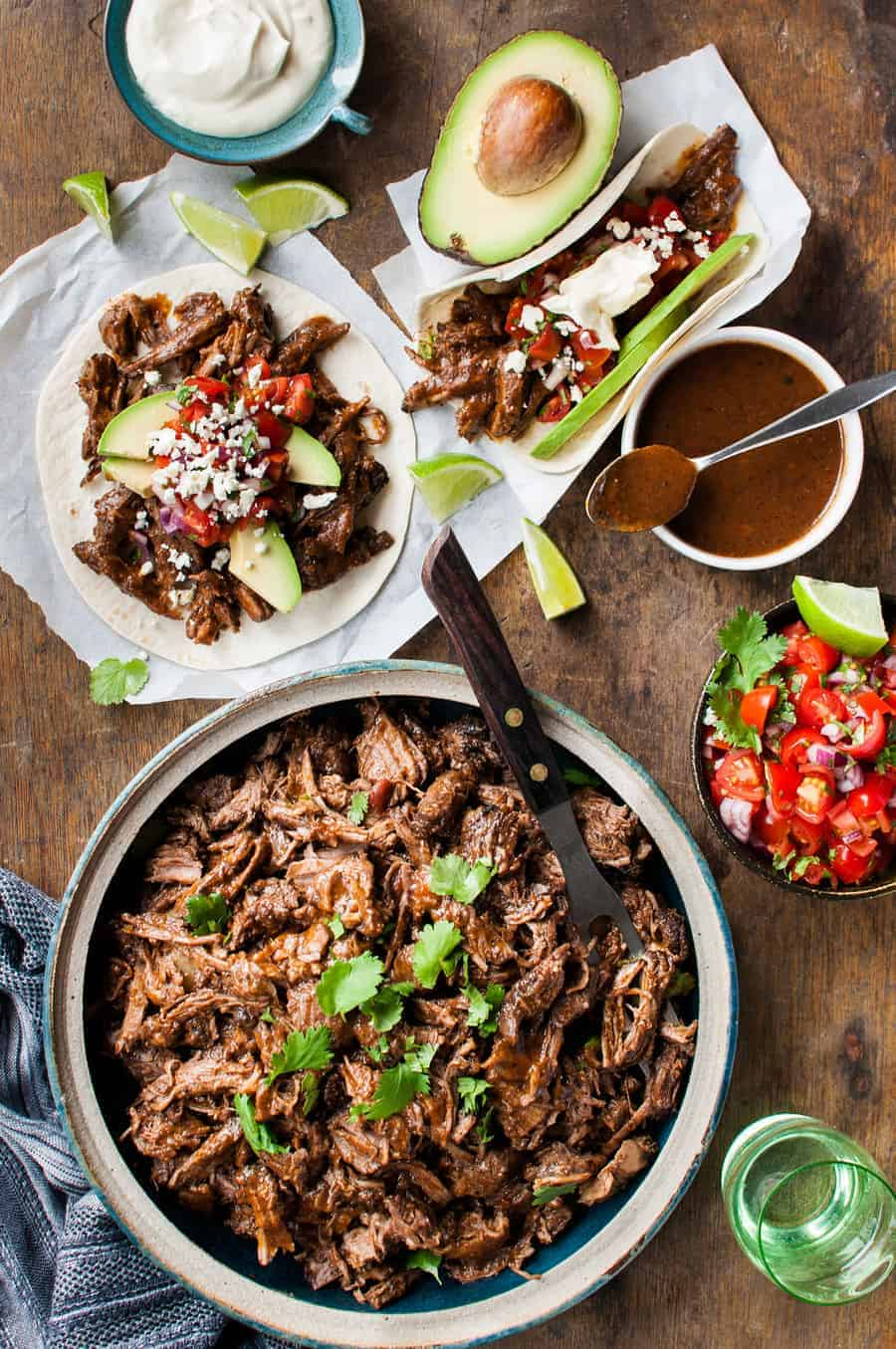Mexican Shredded Beef - tender beef in a rich sauce, made in the slow cooker, stove or even oven! www.recipetineats.com