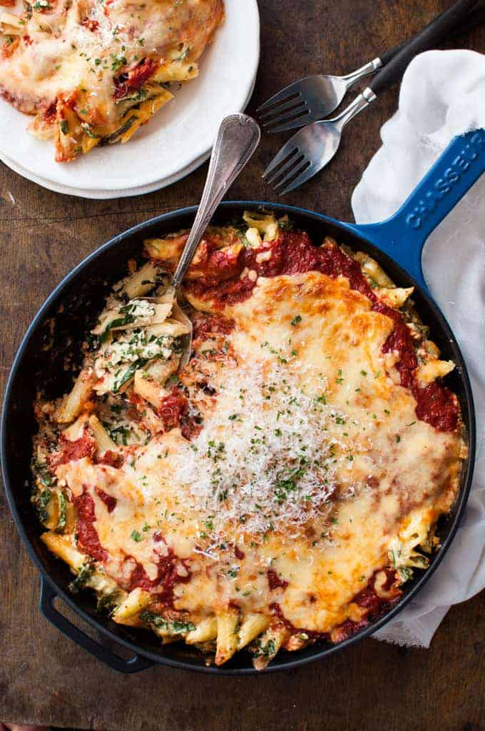 Spinach & Ricotta Pasta Bake - Quick to put together, and made from scratch! Made extra creamy by adding milk into the ricotta. Extra flavour addition possibilities are endless!