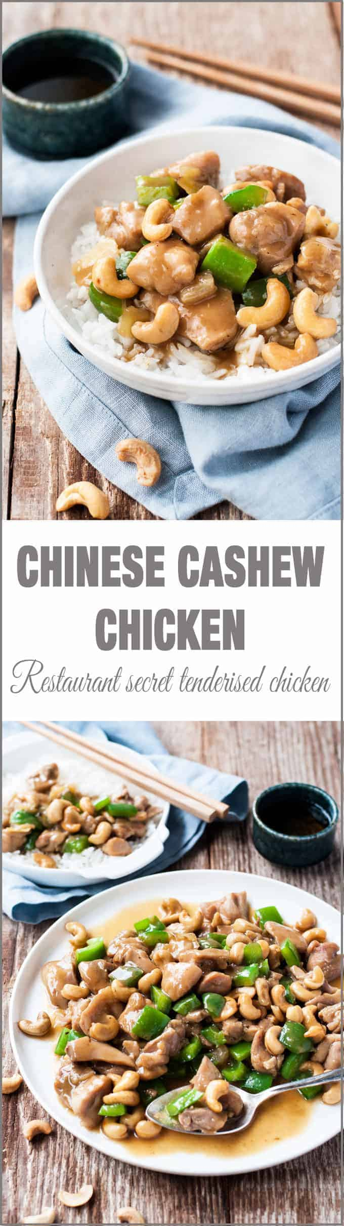 Chinese Cashew Chicken Stir Fry - Just like what you get at restaurants, INCLUDING tenderising the chicken!