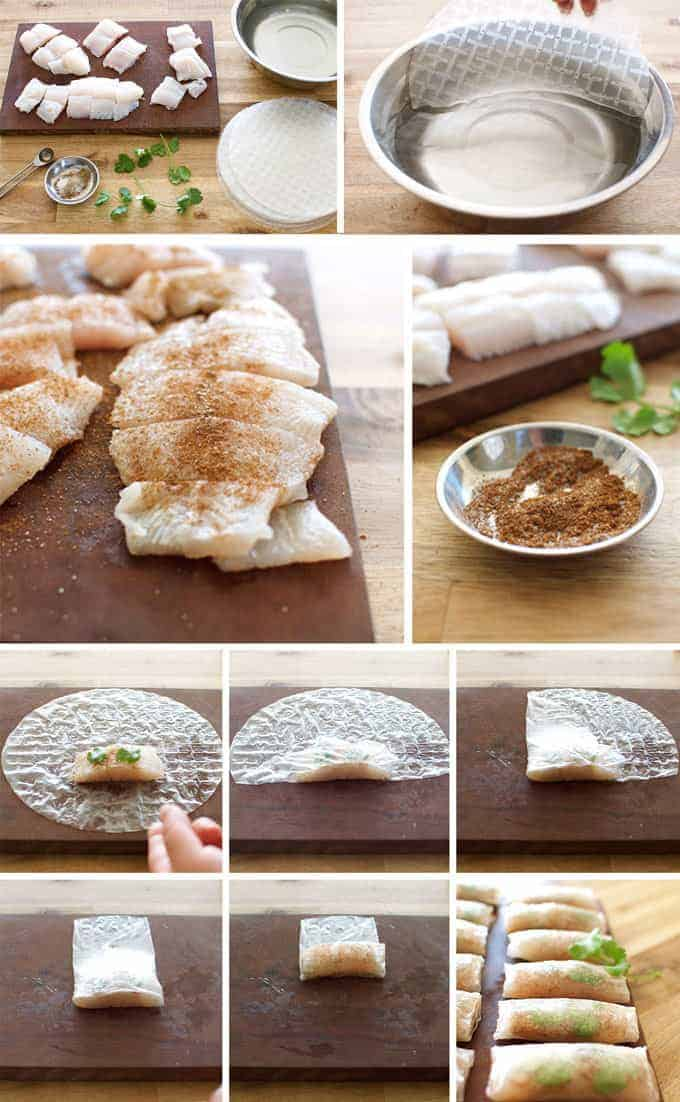 Photo sequence showing steps for making Crispy Chinese Rice Paper Wrapped Fish