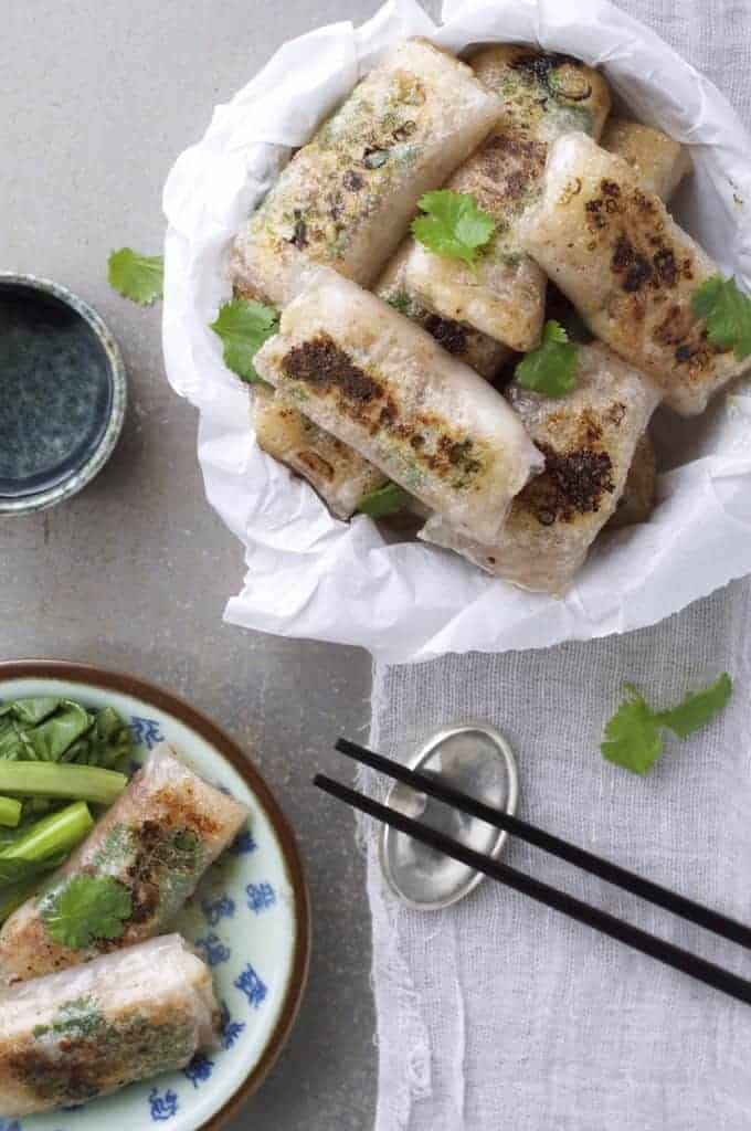 Crispy Chinese Rice Paper Wrapped Fish with chopsticks