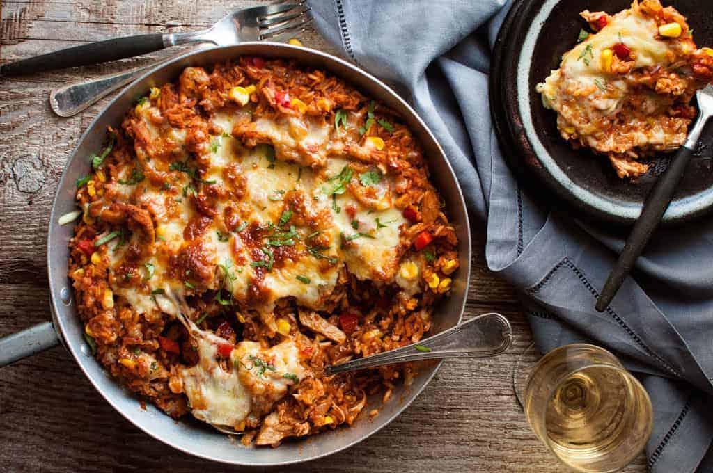 One Pot Chicken Enchilada Rice Casserole Recipetin Eats
