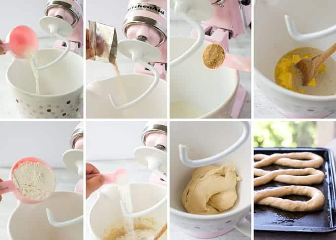 Preparation steps illustrating how to make Pink Ribbon Pretzels.