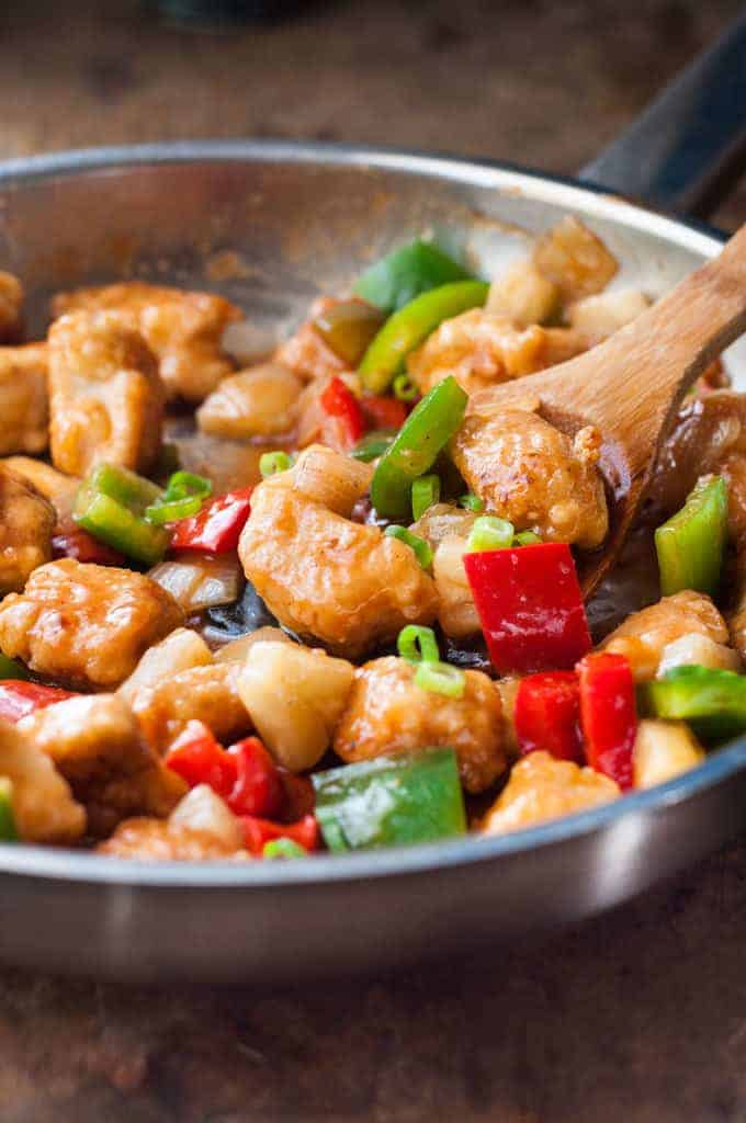 Closeup of pan of Baked Sweet and Sour Chicken