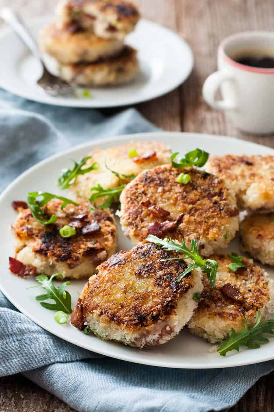Closeup of Mashed Potato Cakes with Cheese & Bacon
