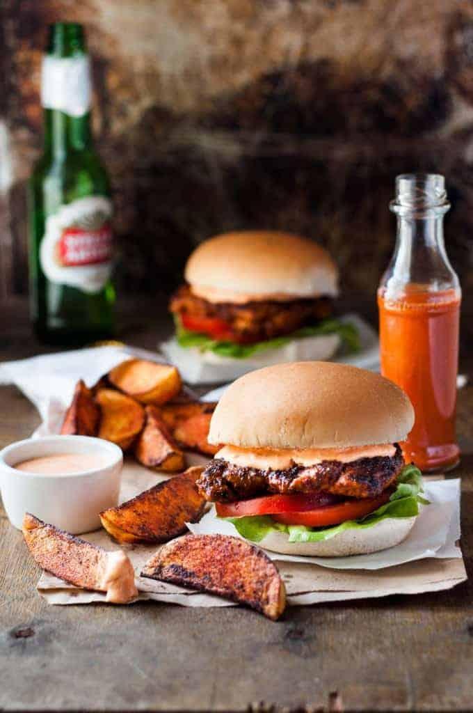 Nando's Peri Peri Chicken Burger copycat recipe with sweet potato wedges