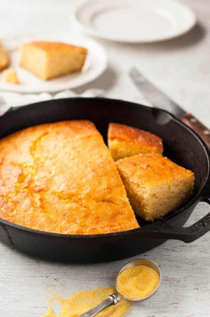 Skillet Corn Bread - super easy and fast to make, moist, not overly sweet and not crumbly.