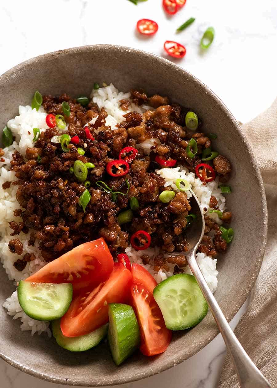 Vietnamese Caramelised Pork Bowls served over rice in a rustic bowl - ground pork recipe / pork mince recipe
