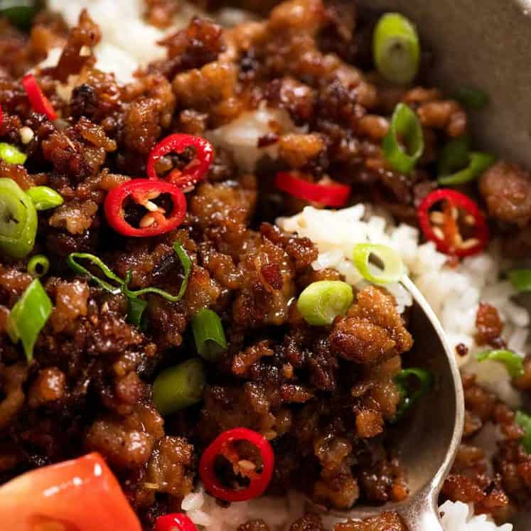 Close up of pork mince stir fry - Vietnamese Caramelised Pork Bowls