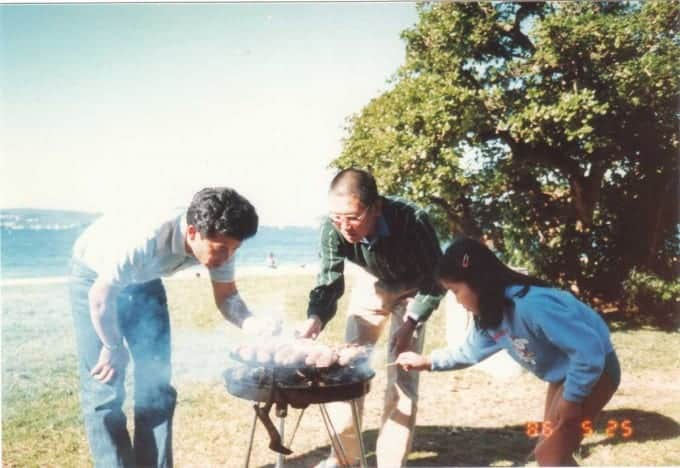 Japanese family BBQ at Balmoral Beach, Sydney Australia