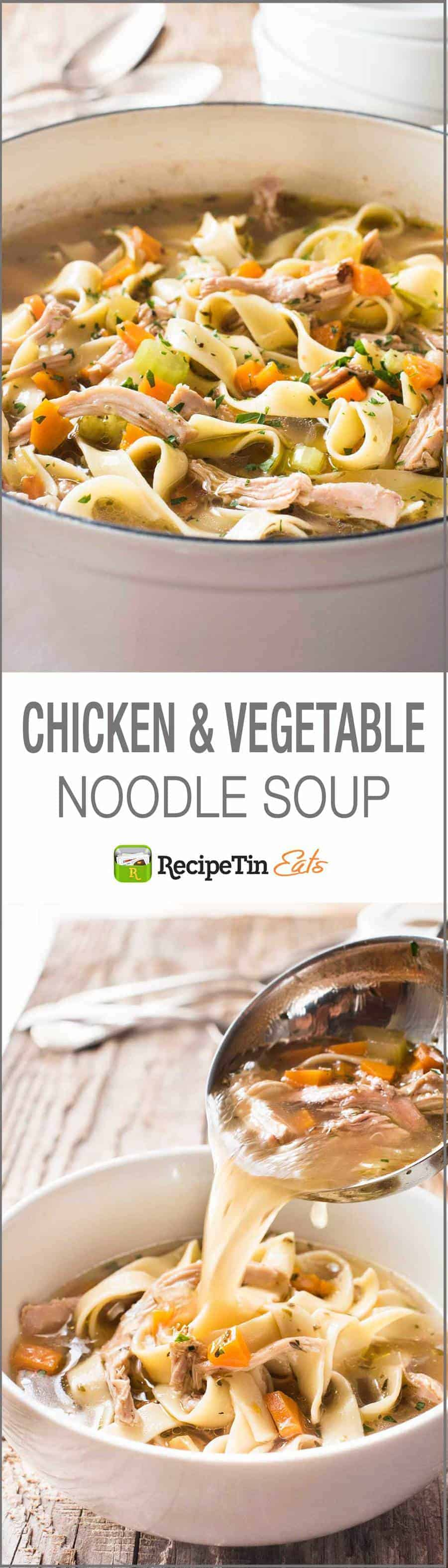 Chicken Vegetable Noodle Soup - Two little secret tips to make the BEST easiest midweek version you've ever had!