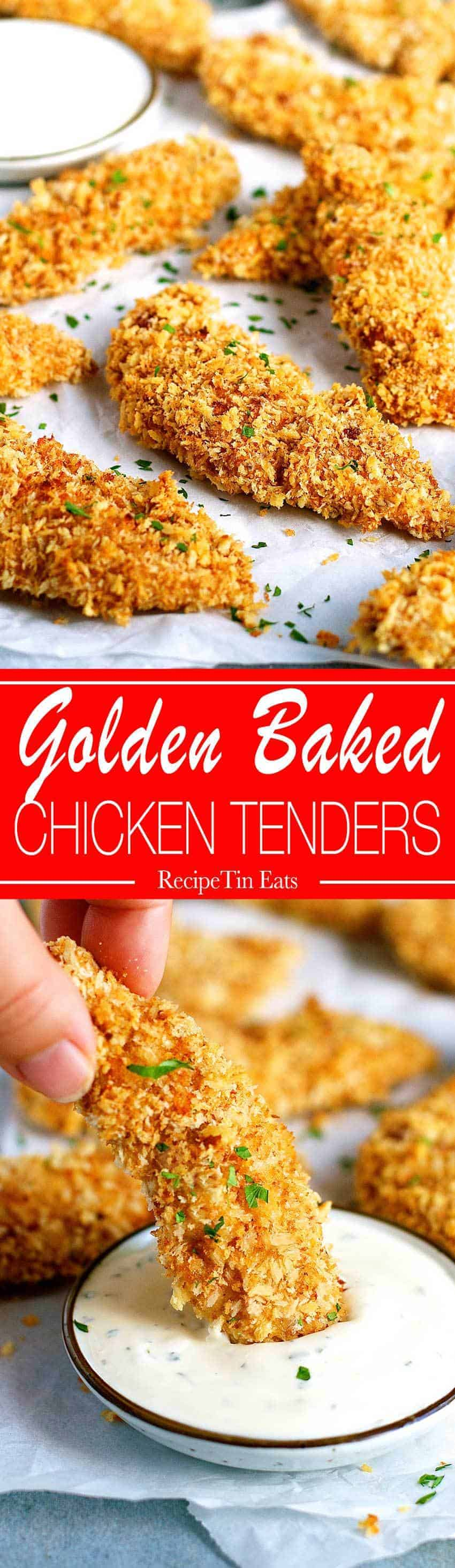 Truly Crispy Oven Baked Chicken Tenders Recipetin Eats