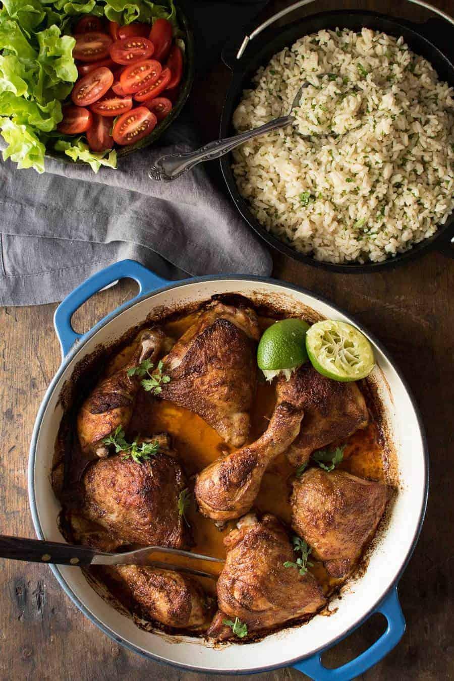 Peruvian Roast Chicken With Garlic Butter Rice