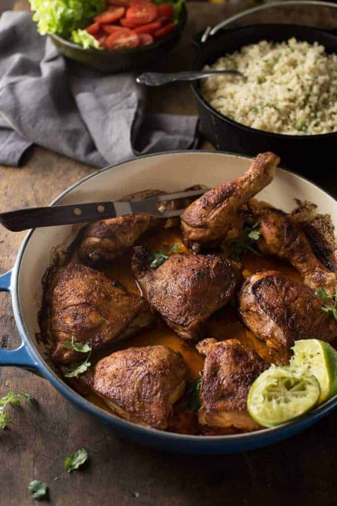 Peruvian Roast Chicken - the marinade is simple but packs a flavour punch! And the rice is absolutely irresistible!
