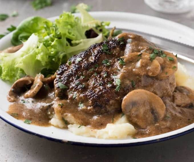 Salisbury Steak recipe - with my little restaurant tip for extra flavourful gravy! www.recipetineats.com