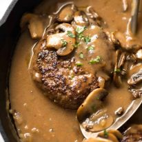 Salisbury Steak recipe in skillet.