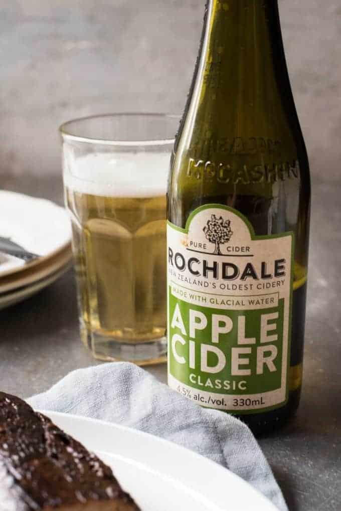 Closeup of apple cider bottle