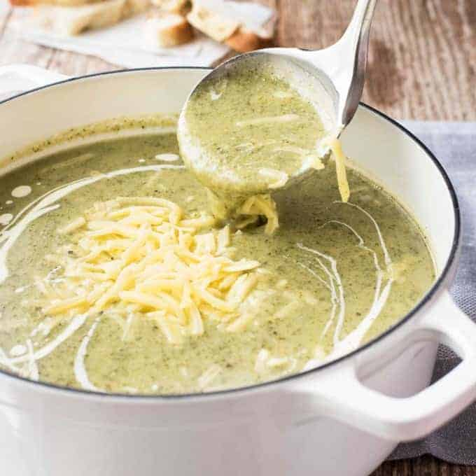 Easy Broccoli Cheese Soup - You're just 20 minutes away from a bowl of creamy, cheesy goodness that's only 300 calories a serving.
