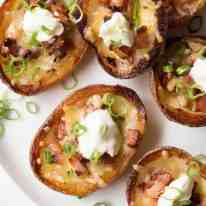 Crispy Cheese & Bacon Potato Skins with extra bacon flavour