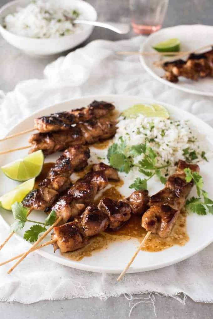 Honey Sriracha Glazed Chicken Skewers - Just 5 ingredients for the marinade glaze that you will fall in love with! Great for barbecues!