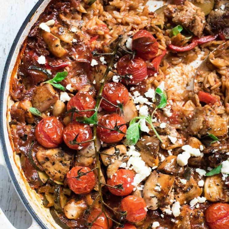 A pot of baked Greek orzo with chicken