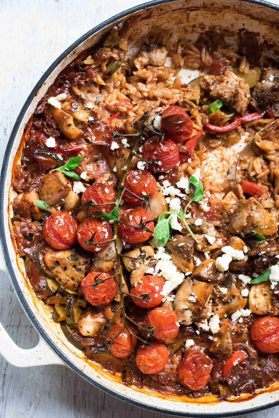 One pot baked greek chicken orzo risoni recipetin eats forumfinder Choice Image