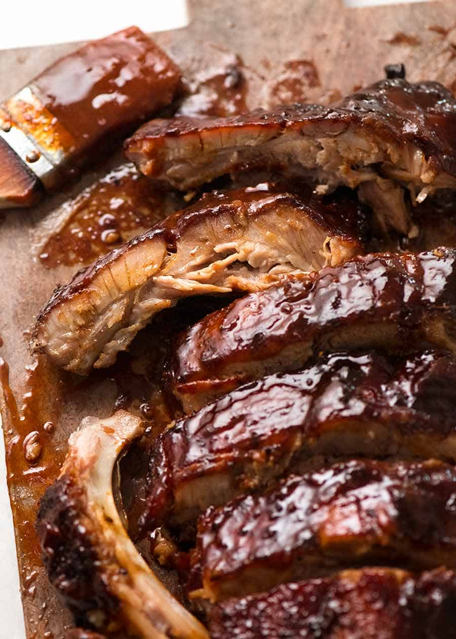 Close up of Barbecue Pork Ribs recipe cooked in Oven with sticky barbecue sauce