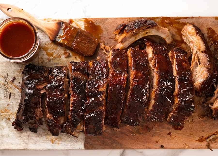Overhead photo of Oven Barbecue Pork Ribs