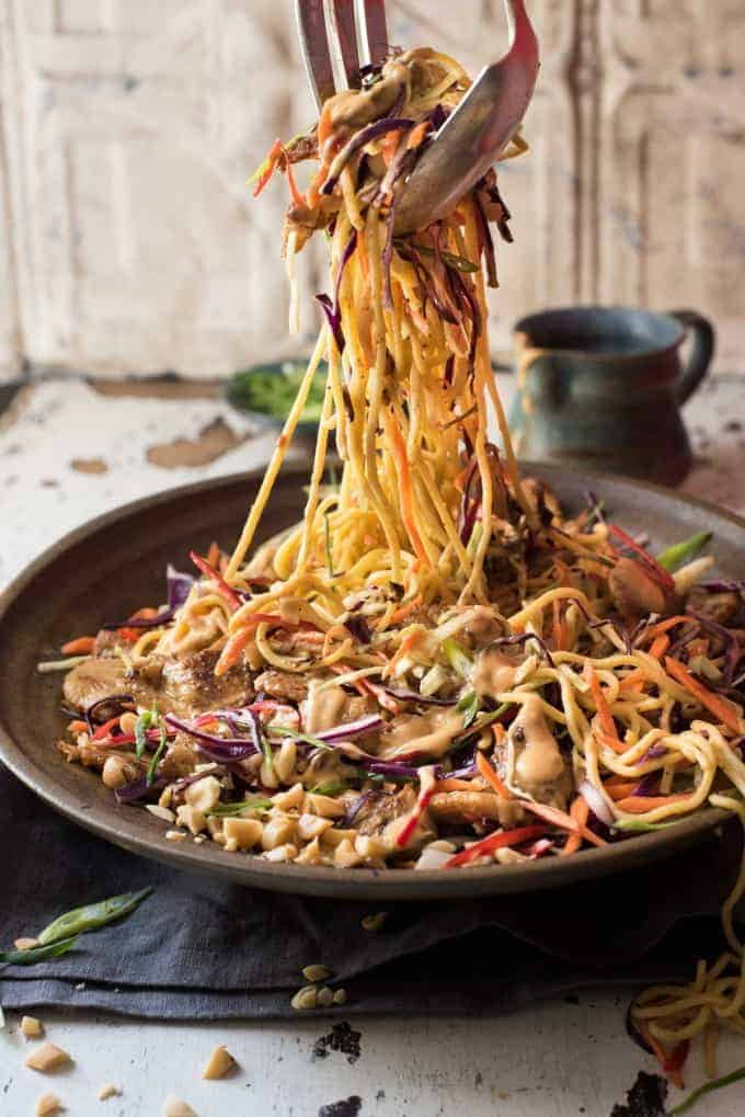Satay Chicken Noodle Salad - Satay Chicken tossed with noodles, veggies and a scrumptious creamy peanut dressing!