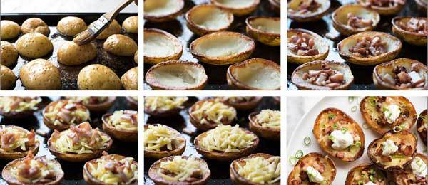 Photo sequence showing steps to make Cheese & Bacon Potato Skins